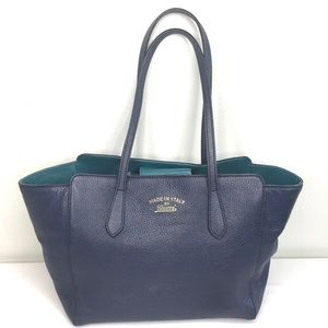 Authentic Gucci blue leather tote with turquoise